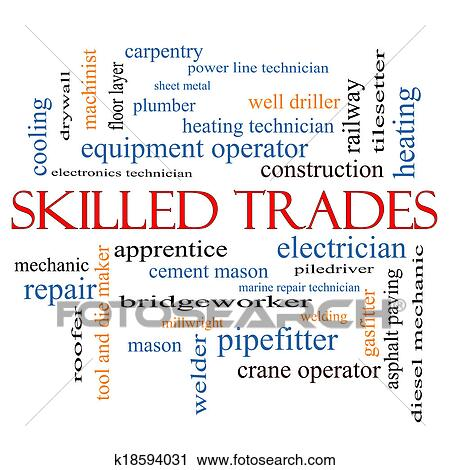 Clipart - Skilled Trades Word Cloud Concept. Fotosearch - Search Clip Art, Illustration Murals, Drawings and Vector EPS Graphics Images