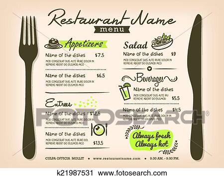 restaurant menu templates for mac - clipart of restaurant placemat menu design template layout