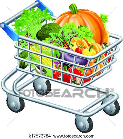 clipart of vegetable trolley k17573784 search clip art rh fotosearch com baby trolley clipart supermarket trolley clipart