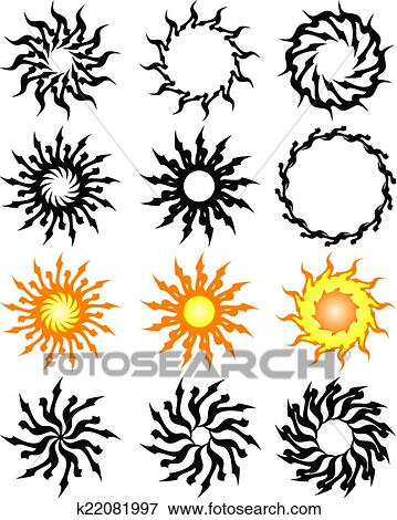 clipart tatouage soleil flamme tribal conception. Black Bedroom Furniture Sets. Home Design Ideas