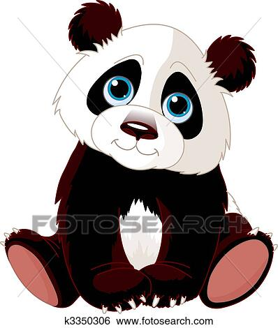 Clip Art of Sitting Panda k3350306 - Search Clipart ...