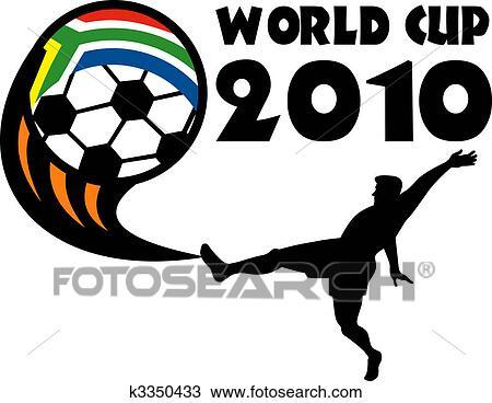 手绘图 - 图标, 为, 2010, 足球, 世界杯, 带, 表演者, 踢, 球, 带图片