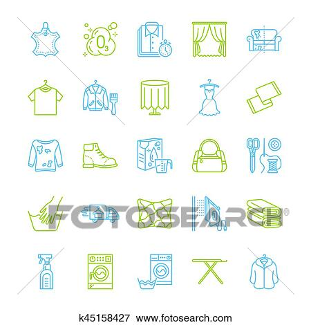 Clip Art Of Dry Cleaning Laundry Line Icons Launderette Service