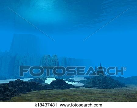 Clipart Of 3D Ocean Floor K18437481