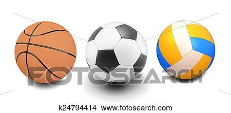 手绘图 - 放置, 在中, 篮球, 足球, 同时,, 排球, 球.图片