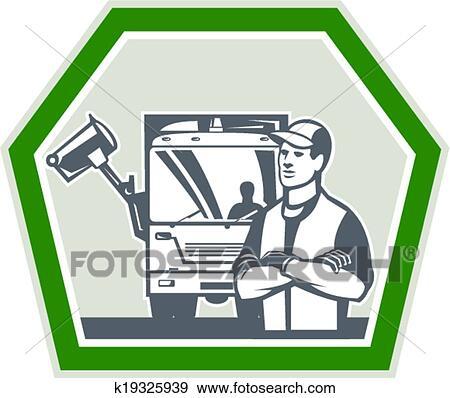 Clip Art Of Garbage Collector Rubbish Truck Retro K19325939