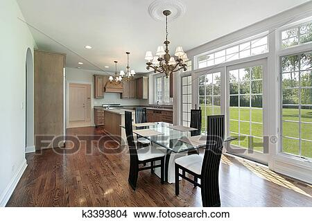 stock foto kueche mit glas schiebet ren k3393804 suche stockbilder wandbilder bilder. Black Bedroom Furniture Sets. Home Design Ideas