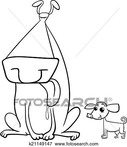 Black And White Cartoon Illustration Of Big Dog Small Chihuahua For Coloring Book