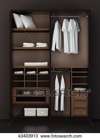 Drawing of inside the modern closet 3d rendering k3403913 for Disenar closet en 3d gratis