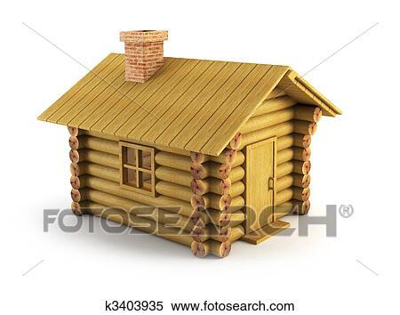 Stock Illustration Of Wooden Log House K3403935