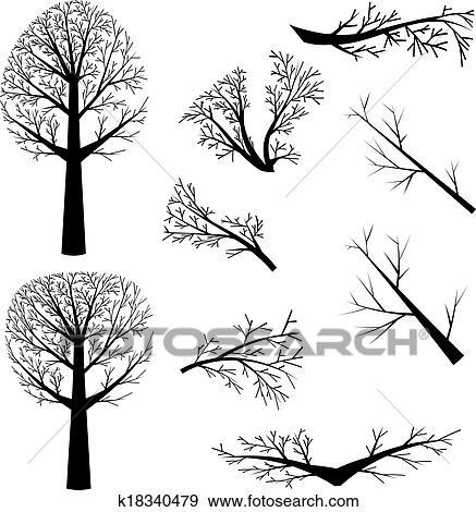 Clipart arbres nus silhouette k18340479 recherchez - Dessin arbre nu ...