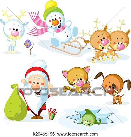 剪贴画 圣诞老人 , 带, 雪人, 漂亮, 圣诞节, 动物