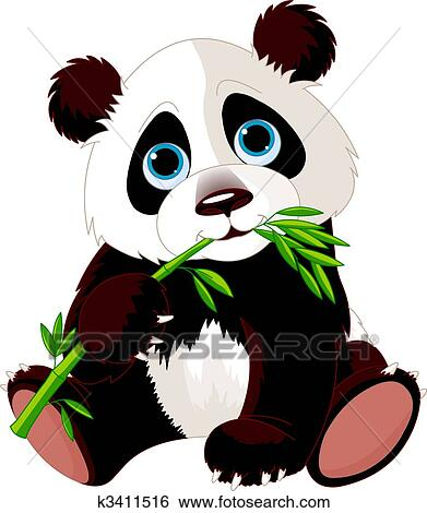 clip art of panda eating bamboo k3411516 search clipart