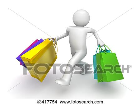 drawings of shopper walking with paper bags 3d isolated
