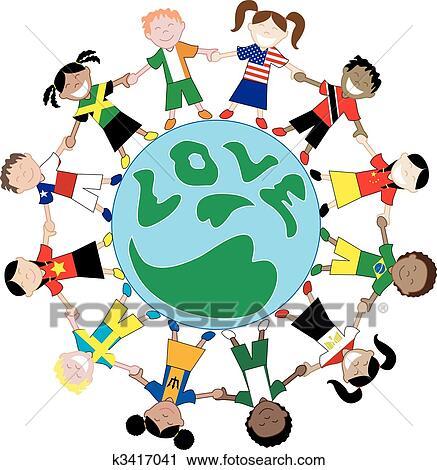 clipart of kids flag shirts love globe k3417041 search clip art rh fotosearch com Planet Earth Clip Art Planet Earth Clip Art