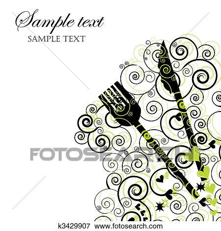 clip art - menükarte, oder, einladung, für, nachtessen, parteien, Einladungen