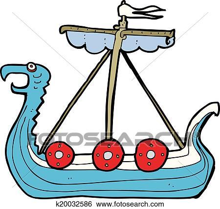 clip art of cartoon viking ship k20032586 search clipart rh fotosearch com viking clipart images viking clipart helmet