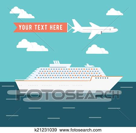 Clip Art Of Cruise Ship And Plane Travel Poster Design K - Can you text from a cruise ship