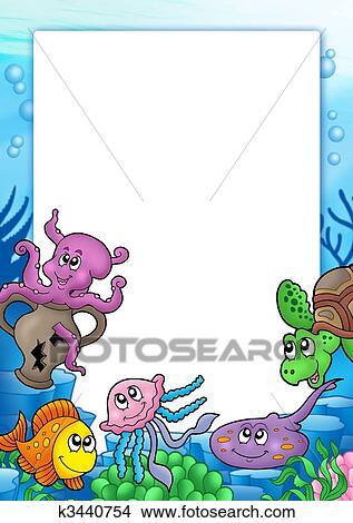 Disegni cornice con vario animali marini k3440754 - Clip art animali marini ...