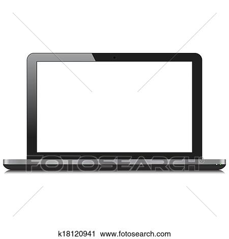 clipart of laptop computer with blank screen k18120941 search clip rh fotosearch com computer screen clipart black and white old computer screen clipart