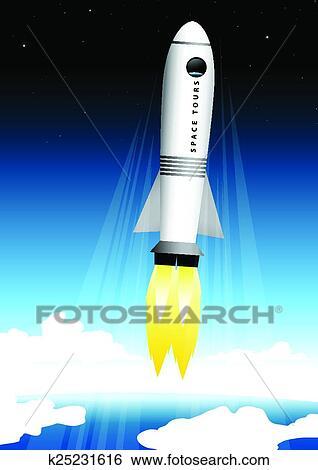 Rocket into Space Clip Arts