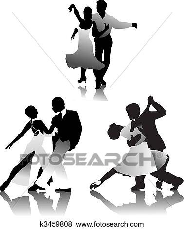 Clip Art of Three couples dancing a tango k3459808 - Search ...