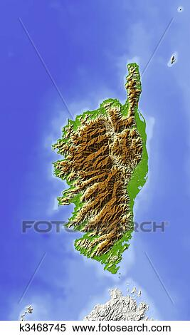 Stock Illustration Of Corsica Shaded Relief Map K3468745