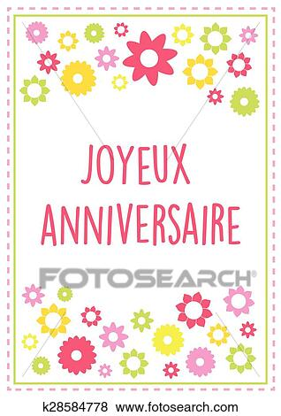 Clip art of french happy birthday greeting card vector with summer clip art french happy birthday greeting card vector with summer colors and flowers text outlined bookmarktalkfo Choice Image