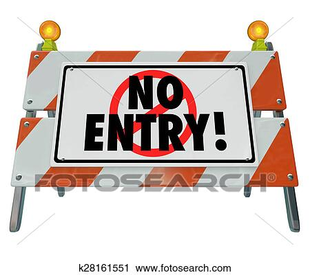 Clipart Of No Entry Barricade Access Road Construction Sign