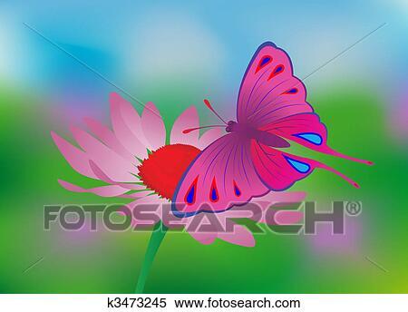 剪贴画 蝴蝶, 花