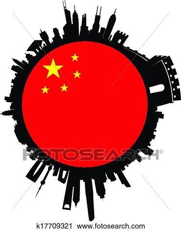 clipart of china globe sphere skyline k17709321 search clip art rh fotosearch com china clipart flag china clipart png