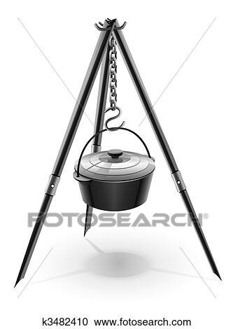 clipart schwarz kessel f r lagerfeuer auf stativ k3482410 suche clip art illustration. Black Bedroom Furniture Sets. Home Design Ideas