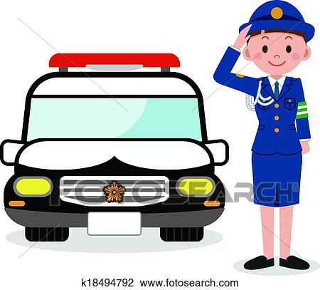 clipart of policewoman and a police car k18494792 search clip art rh fotosearch com police car clipart black and white clip art police cars with flashing lights
