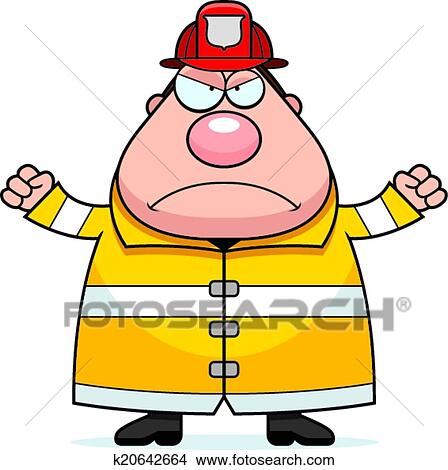 clipart of cartoon fireman angry k20642664 search clip art rh fotosearch com fireman clipart png fireman clipart for kids