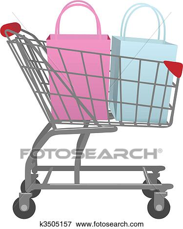 Clip Art Of Go Shop With Cart Big Retail Shopping Bags K3505157