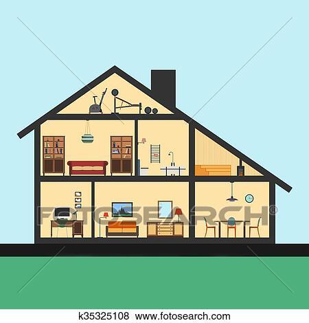 modern house inside. Stock Illustration - House Inside. Detailed Modern Interior In Cut. Flat Style Inside