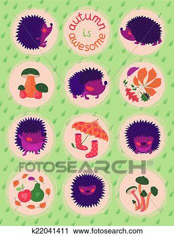 矢量, 描述, 带, 漂亮, 刺猬, 秋季树叶, 同时,, mushrooms.图片