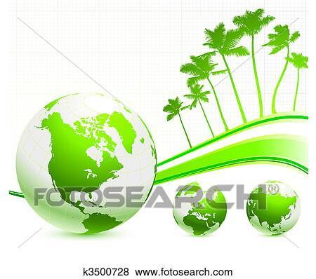 클립아트 - 녹색, 지구, 통하고 있는, 인터넷, 배경, 와, 손바닥 ...