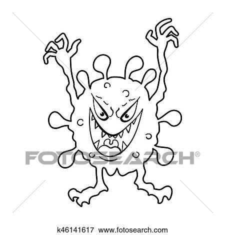 病毒, 同时,, bacteries, 符号, 股票, 位图, illustration.图片