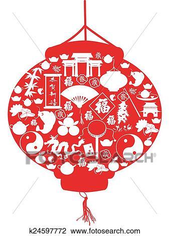 剪贴画 中国的新年, 灯笼