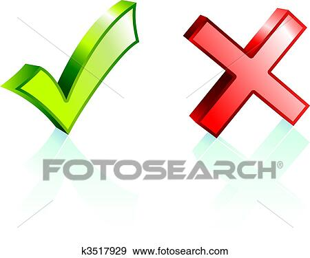 Clipart of Check and X marks k4809472 - Search Clip Art ...