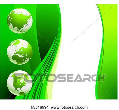 剪贴画 - 绿色的全球,图片