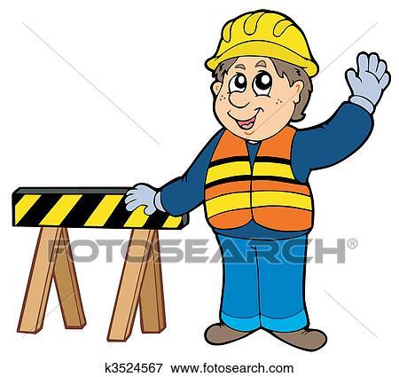 clip art of cartoon construction worker k3524567 search clipart rh fotosearch com cartoon construction worker clipart construction worker clip art images