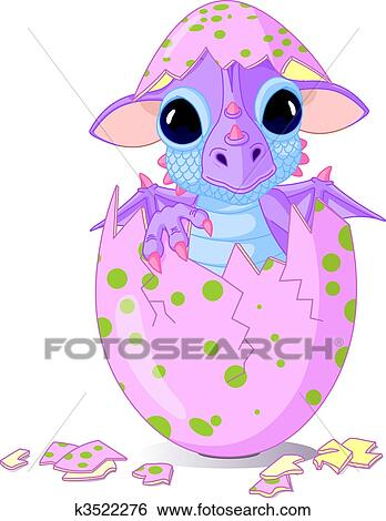 Clip Art Of Baby Dragon Hatched From One Egg K3522276