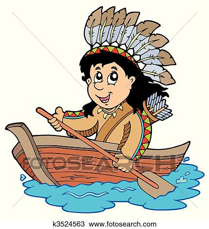Clipart Of Indian In Wooden Boat K3524563