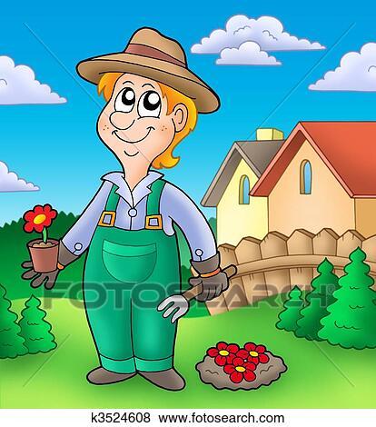 Banque d 39 illustrations jardinier planter fleurs rouges for Recherche jardinier