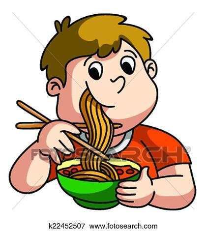 Clipart gar on manger nouille k22452507 recherchez des cliparts des illustrations des - Dessin manger ...