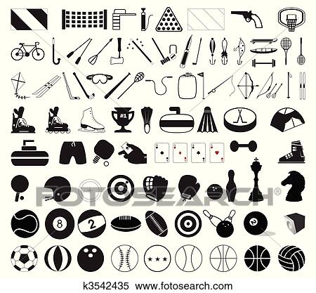 Clipart of Collection of various sports accessories. A vector ...