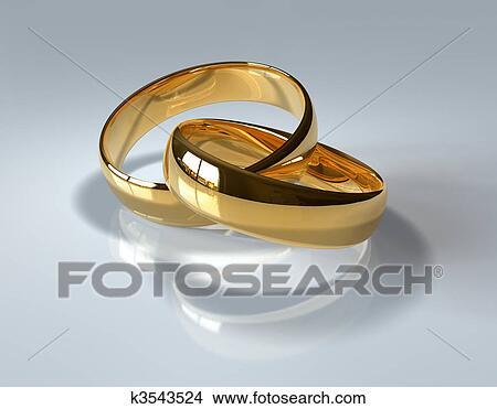 手绘图 - 金色, 结婚戒指
