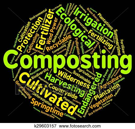 Stock illustration of composting word shows soil for Words for soil